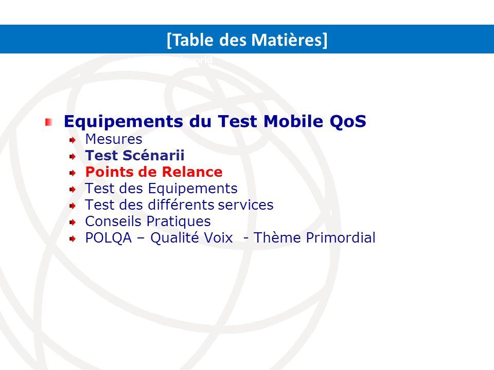 [Table des Matières] Equipements du Test Mobile QoS Mesures